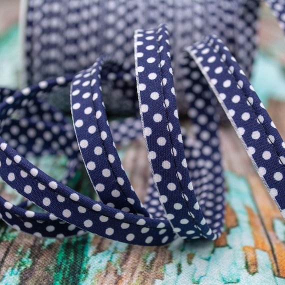 Piping stripe with dots navy, 1,09 yards per piece