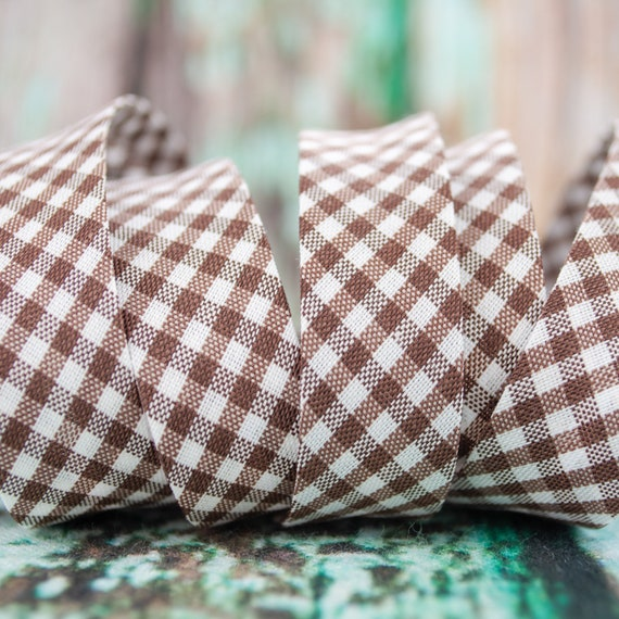 Bias tape vichy checked brown white, 18mm width, 1,09 yards = 1 meter per piece