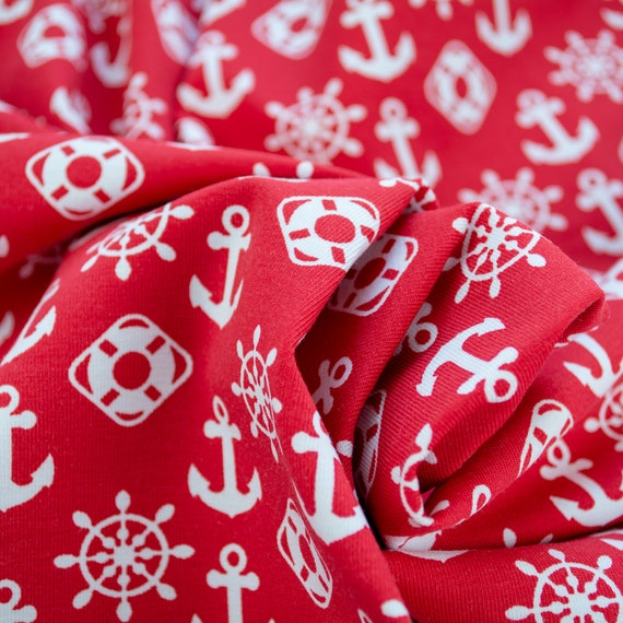 Jersey Anchor Ahoi! red white maritim fabric, 0,27 yards / 0,25m per piece