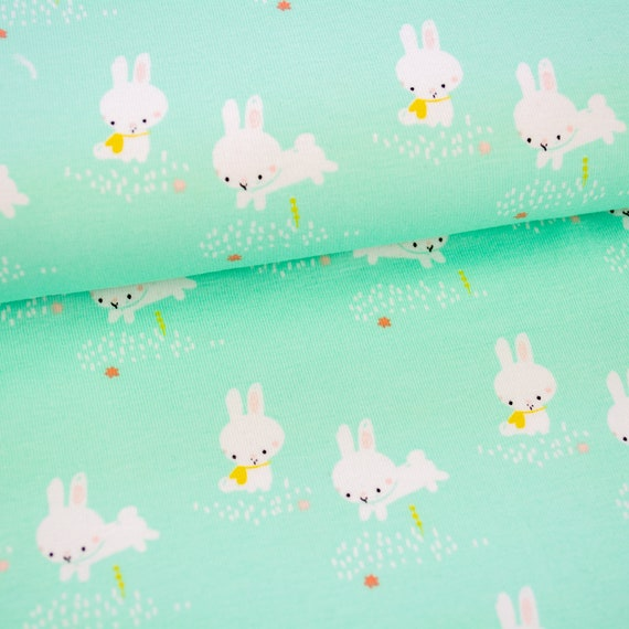 Jersey BINKY BUNNY mint, 0,27 yards per piece