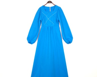 Vintage 70s HANDMADE Blue Maxi Dress - Embroidered Bodice Corsshatch Hippie Boho Long Dress Small Medium 1970s - Cinderella Cosplay Theatre