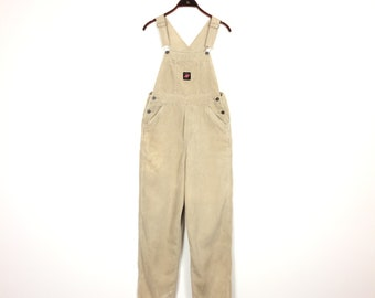 b94f99b6ae6 Vintage CORDUROY Overalls - Long Dungarees Cream Beige American Eagle  Outfitters Jumbo Cord Dungaree - XS Small Oversized 1990 s Workwear