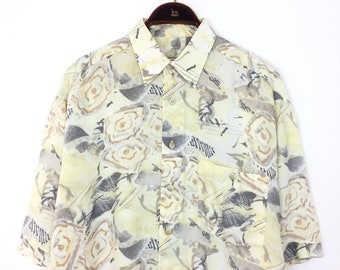 bafebeb5998 Vintage 90s FLORAL Shirt - Abstract Yellow Grey Rose Pattern Button Up  Short Sleeve Festival Hawaii Shirt - Accanto Sidensticker XL 2x