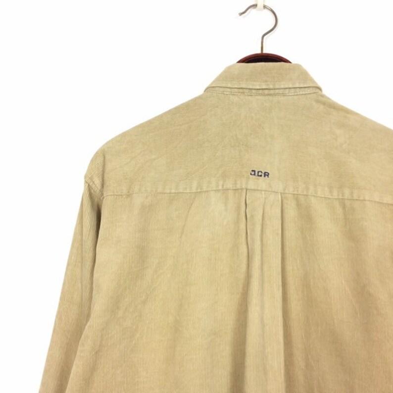 Vintage 90s CORDUROY STRIPE Shirt Small Medium 1990s Overshirt Tan Beige Colour Block Colourway Striped Cord Hip Hop GRUNGE by Jcr Sport