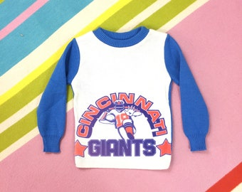 VINTAGE 70's Kids CINCINNATI GIANTS Sweater - Blue White American Football Jumper Pullover - New Old Stock Deadstock Age 3 4 years Childrens