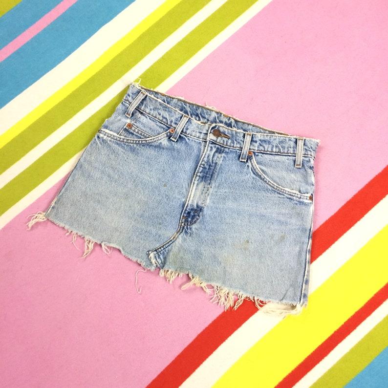 Levis Light Blue Denim Skirt Cut Off Frayed Distressed Stonewash Short Mini  Shirt 32