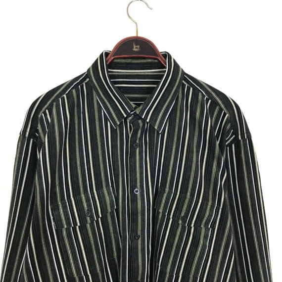 Vintage 90s Green Black Stripe CORDUROY Shirt XL X