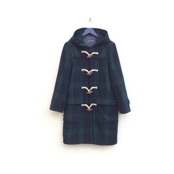 06918d04ce70 Blue Green TARTAN Duffle Coat . Hooded Black Watch Modern