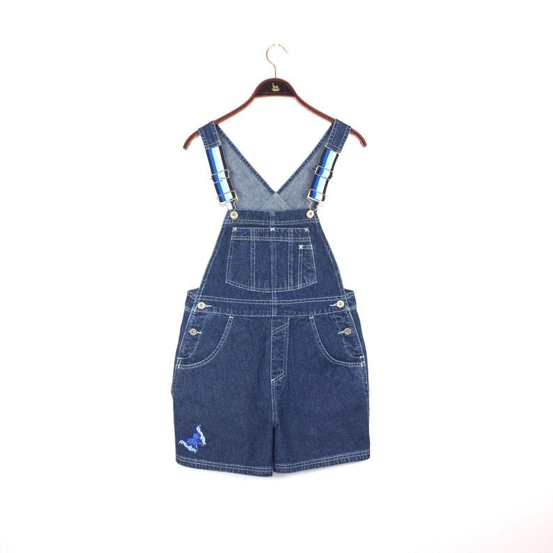 51954a36fb7 90s Vintage SQUEEZE Overalls Short Dungarees SQZ Blue Denim