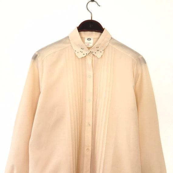 Vintage 80/'s Shirt Blouse Navy Loose Fit Silk Long Sleeves UK1214 EU38