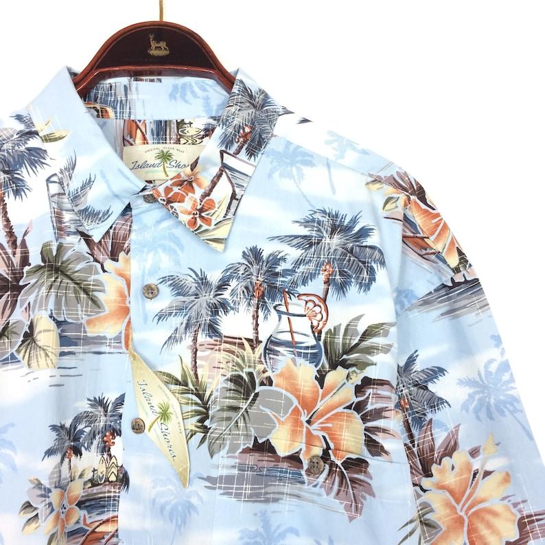 dc161241a HAWAIIAN Shirt NEW Vintage 1990s Festival Beach Palm Tree Size | Etsy