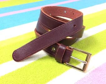 Vintage Leather Belt - Women's Burgundy Leather Belt Burgundy Skinny Thin Leather Belt Dark Red 80s Vtg - Size Small Medium 26 28 30 Inch