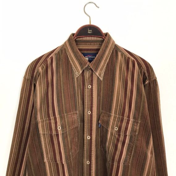 Vintage 90s Brown Stripe CORDUROY Shirt Large Over