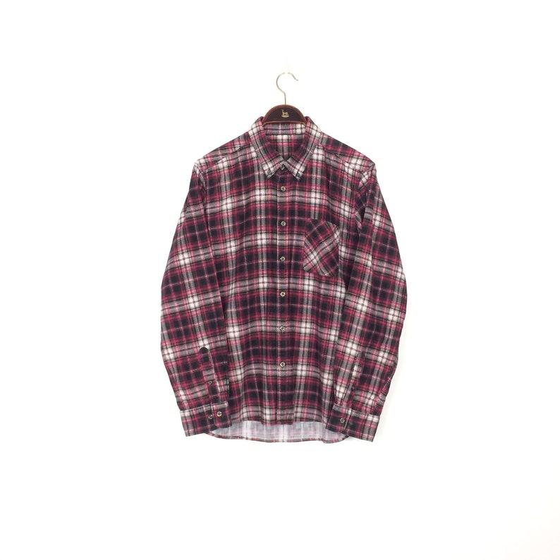 5854b6166da Vintage CORDUROY Plaid Shirt 1990s Pink Tartan Check Cord