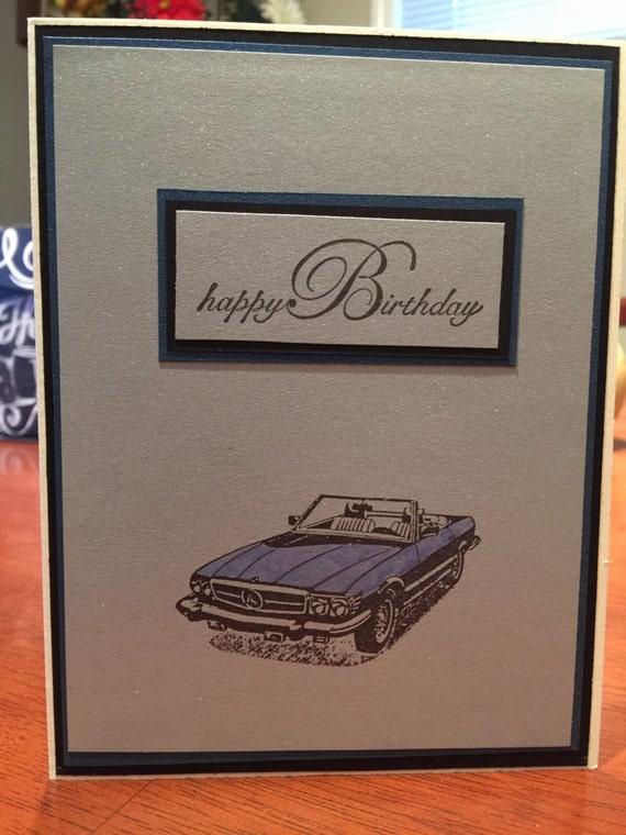 Birthday Card Mercedes 500 Sl Classic Sports Car Convertible Etsy