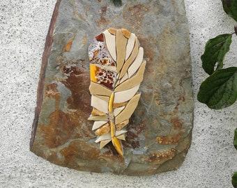 Mosaic feather, hanging wall decoration, wall art, LUMA ALEZAN