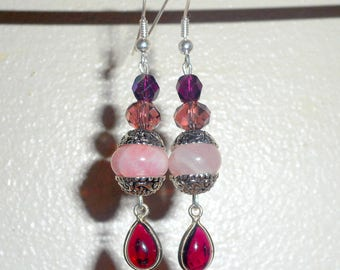 """Gaïa"" earrings - rose Quartz, Garnet, Czech glass beads, 925 Silver - Al ""Beautiful and Bohemian""."