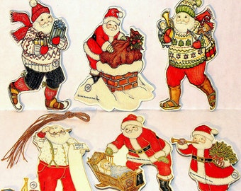 6 Vintage Santa Christmas Ornament s By Artist Mary Lillemoe MINT/FACTORY SEALED Rare Merrimack Publishing Co