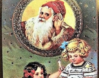 "Vintage CHRISTMAS POSTCARD Victorian Era ""Santa is Listening"" MINT Condition Merrimack Publishing Company"
