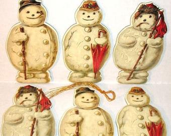 6 Jolly Snowman Christmas Ornament s MINT/FACTORY SEALED Rare B.Shackman Co