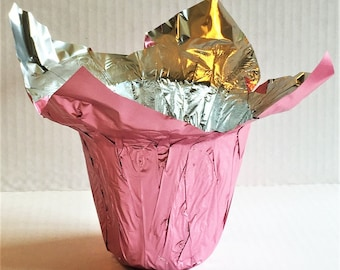 Flower pot cover etsy 25 flower pot wrappers kwik covers 45 metallic pink dress up ur pots plants perfect for mothers day breast cancer awareness events mightylinksfo