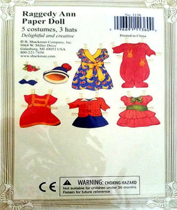 RAGGEDY ANN PAPER DOLL Stands to Display MINT Condtion//Factory Sealed SHACKMAN
