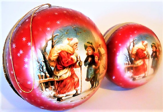 GERMAN DECOUPAGE Christmas Ornaments Handmade Mint Condition/Factory Sealed  Rare!