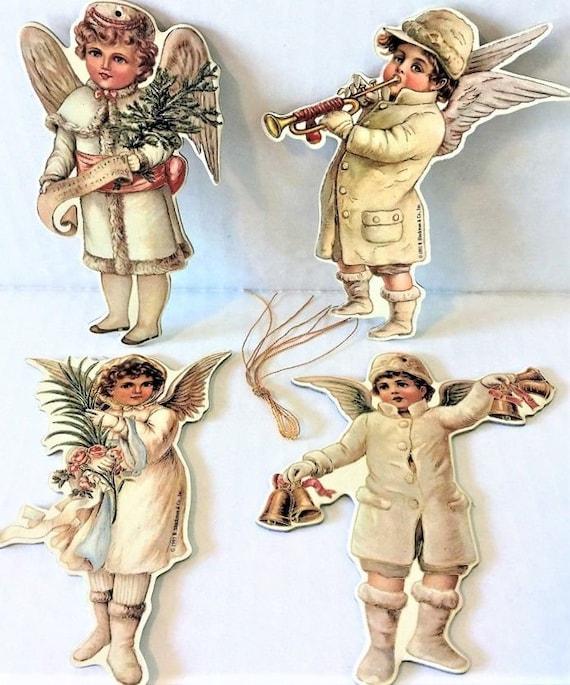 Shackman 4 VICTORIAN SNOW CHILDREN CHRISTMAS TREE ORNAMENTs Mint//Sealed RARE