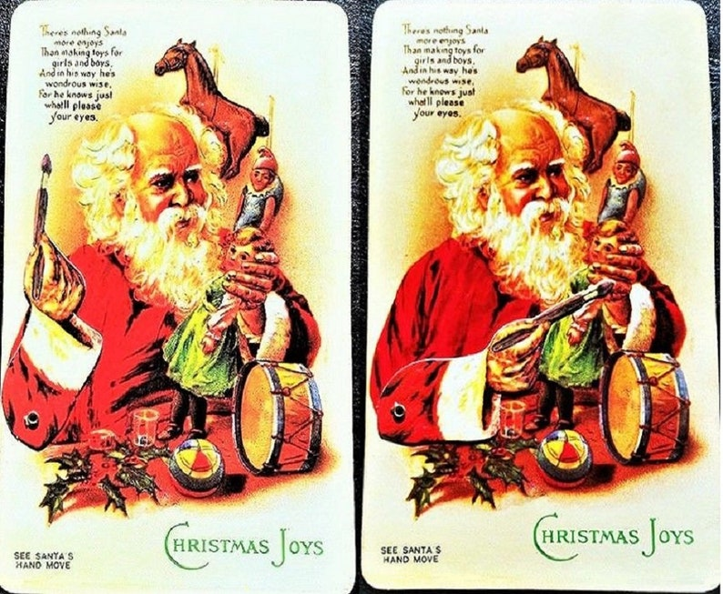 VINTAGE CHRISTMAS POSTCARD Mechanical Santa's Hand Moves To Paint Doll!  Rare! Mint Condition Merrimack