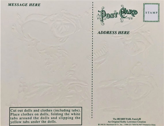 "MINT Shackman BENJAMIN BUSHYTAIL SQUIRREL PAPER DOLL POST CARD Large 7x6/"" Rare"