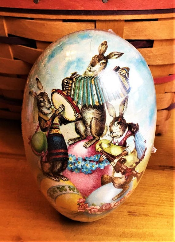 6x4 DANCING BUNNIES Sealed MINT Made Germany Vintage Paper Mache Easter Egg