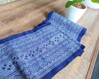 L65 2.55 Meters Long Hmong cotton Indigo Batik fabric,vintage cotton textiles,indigo cotton Table runner Hmong skirt from Thailand Sale!!