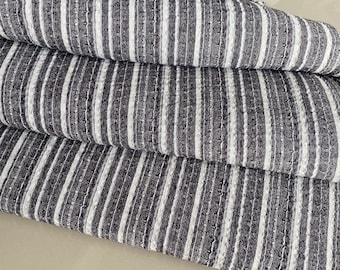 natural cotton light brown and white stripe with black dot slight pattern cotton woven,sell by the yards The Chiangmai native cotton fabric