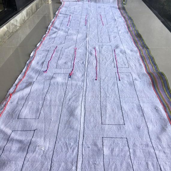 Tissu Hmong, tissu de chanvre tissé à la la à main Hmong Vintage chanvre, tissus tribu hill vintage avec broderie, etc, votre bricolage #1305 b20462