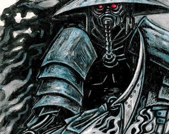 reprographie qualité giclé d'art dessin peinture street samouraï cyberpunk dans les ton bleu gris noir a encadrer @Méka-drepth