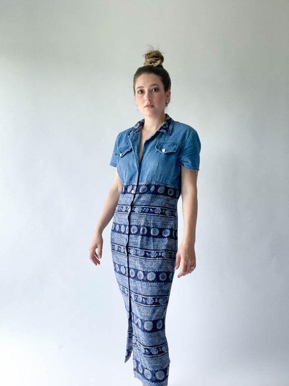 vintage denim and paisley multimedia midi shirt dr
