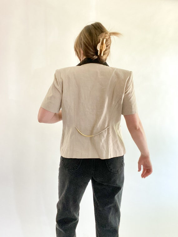 vintage linen top with contrast collar size 12p - image 3