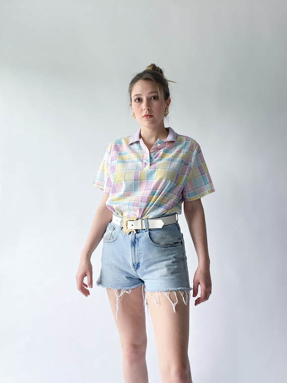 vintage 1980s pastel plaid easter egg polo