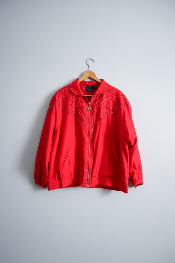 vintage 90s beaded red silk bomber jacket