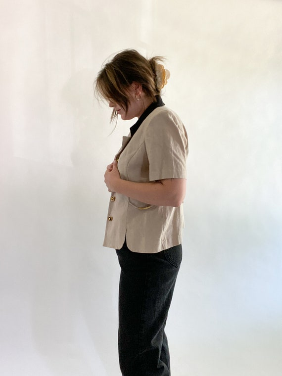 vintage linen top with contrast collar size 12p - image 2