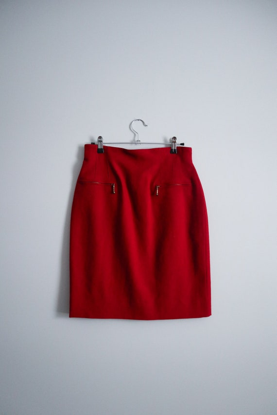 escada red wool high waisted mini skirt