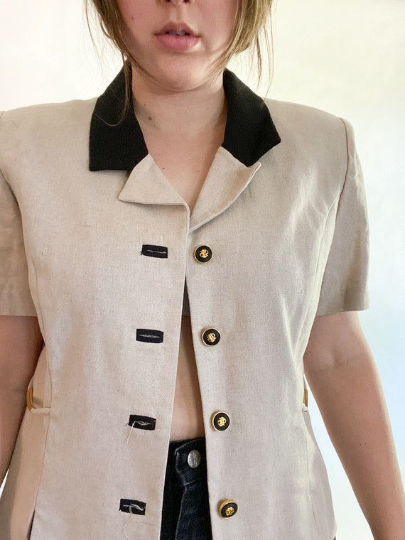 vintage linen top with contrast collar size 12p - image 4