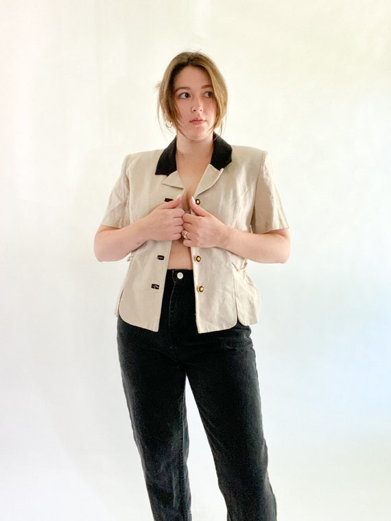vintage linen top with contrast collar size 12p - image 1