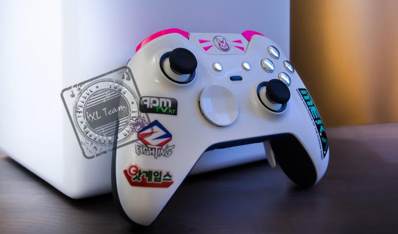 Custom Xbox One Elite Controller - Overwatch D VA DVA with Chrome Silver  Accents