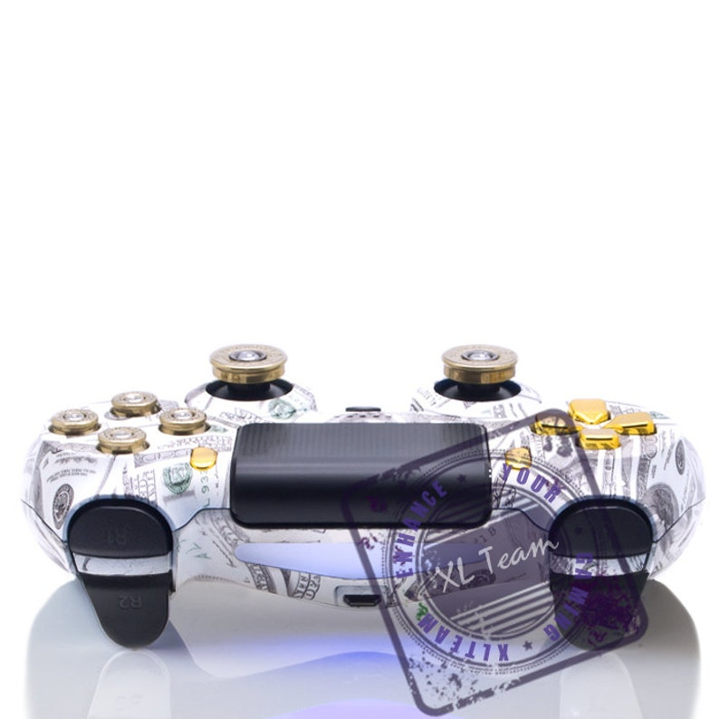 Custom PlayStation 4 PS4 Dualshock 4 Controller - Money Bullet Buttons  Shotgun Thumbsticks