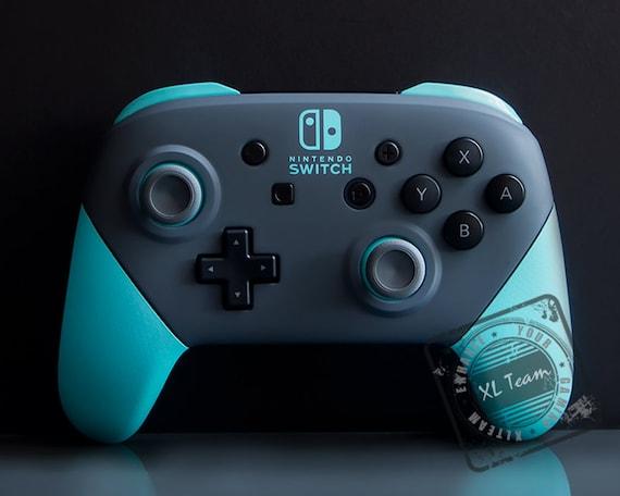 Custom Gray And Cyan Aqua Blue Nintendo Switch Pro Controller Etsy