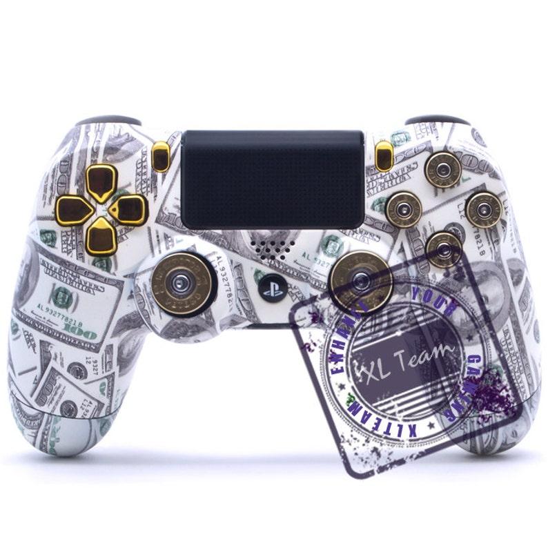 Custom PlayStation 4 PS4 Dualshock 4 Controller - Money Bullet Buttons  Shotgun Thumbsticks