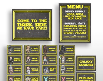 EDITABLE PRINTABLE Star Wars Birthday Party Food Card Tents, Menu & Signs + Characters * Place Cards, Name Cards, Labels * Instant Download