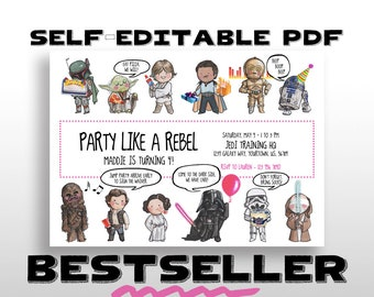 EDITABLE PRINTABLE Star Wars Birthday Invitation With PINK Border Balloon Lightsaber For Darth Vader Party Invite Instant Download Pdf