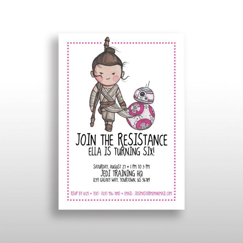 EDITABLE PRINTABLE Pink Star Wars Girl Invitations Rey BB 8